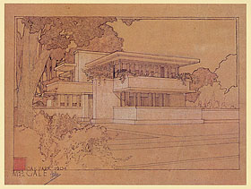 Mrs.Thomas Gale House,Oak Park,Illinois,1909. Copyright 2010 Frank Lloyd Wright Foundation. All rights reserved.