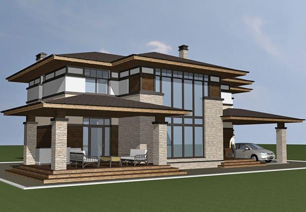 исходный дизайн фасада дома