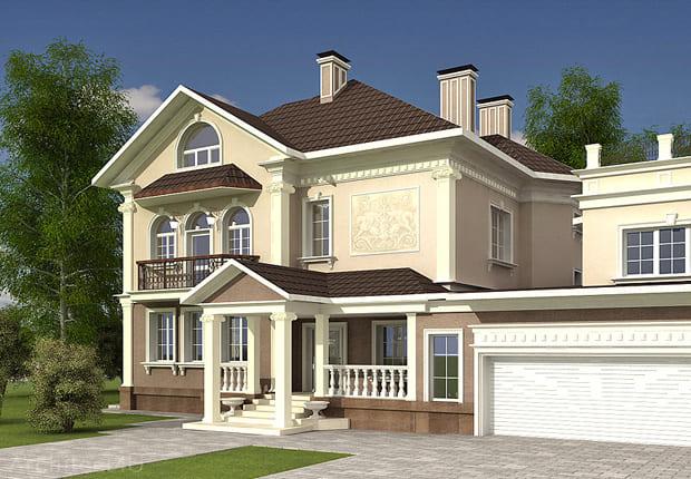 пример фасада дома в классическом стиле