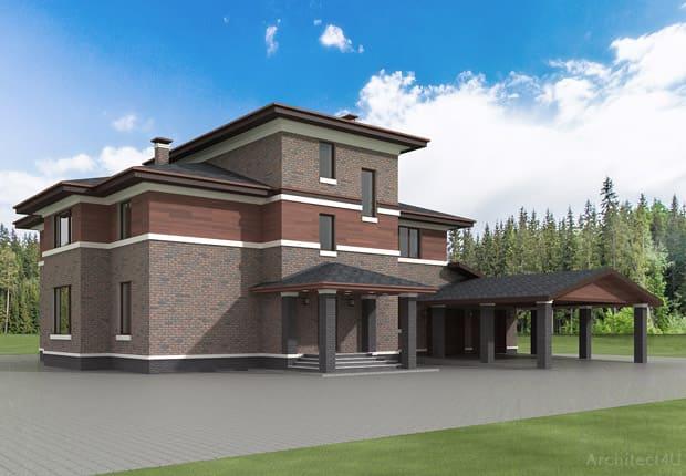 проект отделки дома с использованием клинкерной плитки и планкена