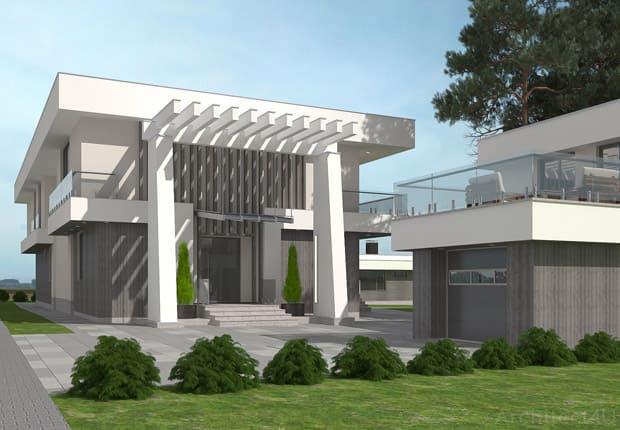 дизайн фасада дома в современном стиле минимализм