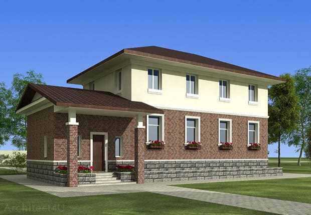 дизайн фасада кирпичного дома
