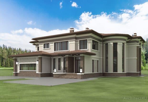 фасад дома в стиле Райта. вид 1