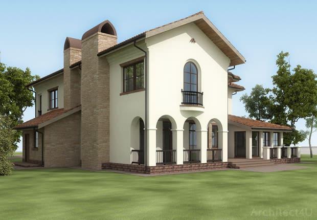 задний фасад. дом в итальянском стиле