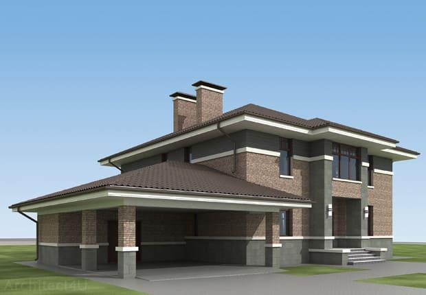 дизайн фасада в стиле райта
