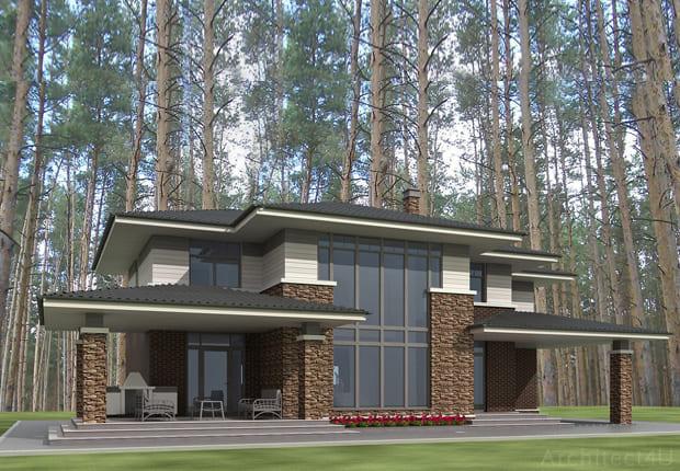 фасад дома в стиле райта
