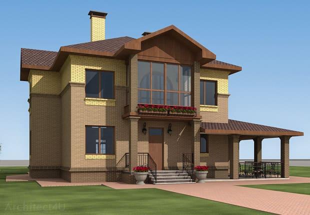 дизайн фасада с облицовочным кирпичом