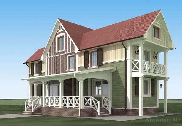дизайн фасадов деревянного дачного дома