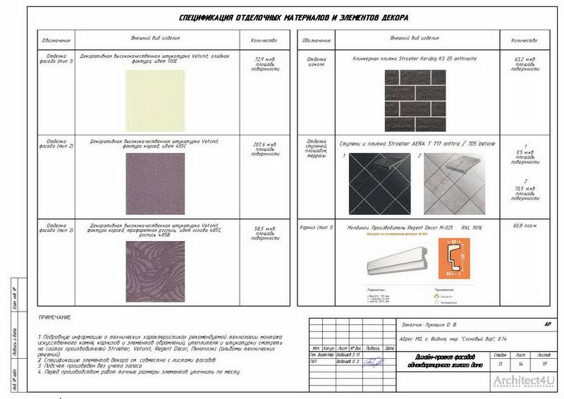 таблица наружной отделки фасадов