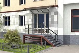 48 - вход в стиле хайтек в многоэтажном доме