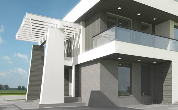 дизайн входной группы загородного дома в современном стиле