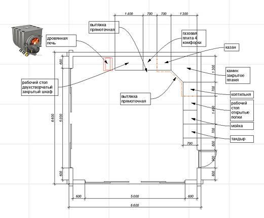 Проект летней кухни 6x6 с элементами дерева в отделке фасадов.